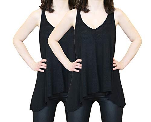 Sodacoda Algodón Camiseta sin Mangas para Mujer – Verano Sport Gym Tank Top (2X Negro, S)