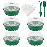 Set mit 5 Sämling-Starterschalen Sämlingspflanzenset, Feuchtigkeitsverstellbare Saatgutschalen-Kits mit Kuppel und Einfachem Gewächshaus-Aufzuchtschalen-Mini-Propagator