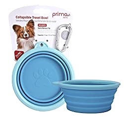Prima Pet Expandable/ Collapsible Silicone Food & Water Travel Bowl with Clip
