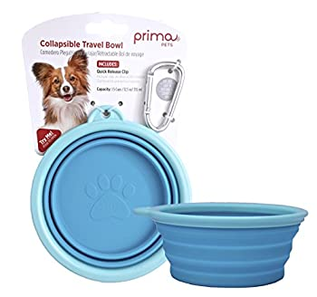 Prima Pet Expandable/ Collapsible Silicone Food & Water Travel Bowl with Clip for Small & Medium Dog and Cat Size  1.5 Cups  5.1 Inch Diameter Bowl   AQUA