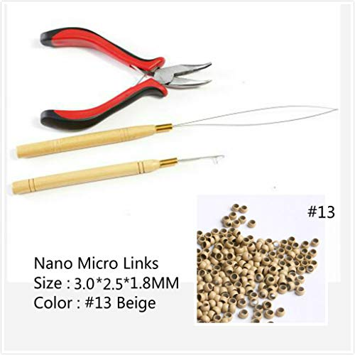 3pcs Hair Extensions Tool kits 1Pc Pliers 2Pcs Pulling Hook Loop Needle 200Pcs Micro Nano Rings for Link Hair and Feather Hair Extensions For Professional Hair Extensions Removers (#13 Bleach Blonde)