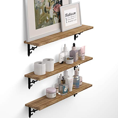 Wallniture Ponza Wood Floating Shelves for Bathroom Decor, Organization and Storage Shelves Wall Mounted Set of 2 Natural
