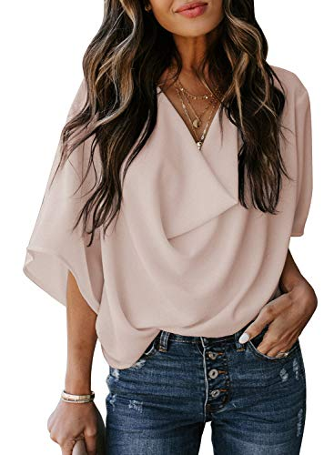 HOTAPEI Womens Blouses and Tops for Work Fashion 2021 Casual Summer Short Sleeve Wrap V Neck Draped Front Office Blouses Loose Fit Tops Shirts Apricot