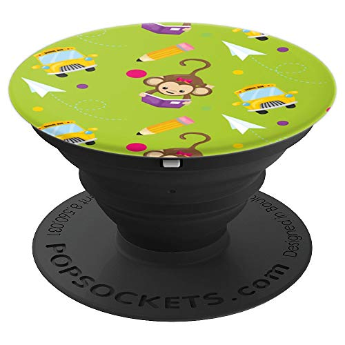 Monkey Reading Writing School Bus Pencil Graphic PopSockets Grip and Stand for Phones and Tablets
