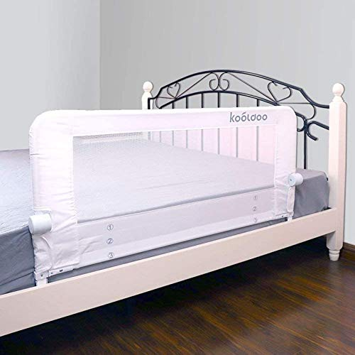 Toddlers Bed Rail Guard 59 Inches Fold Down Convertible Crib Bed Guard with NBR Foam and 1pcs Seat Belt for Kids Twin, Double, Full Size Queen & King Mattress (White)