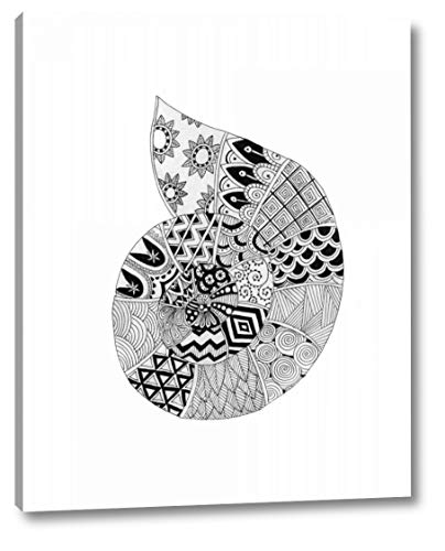 """BW Decorated Nautilus by Pam Varacek - 24"""" x 30"""" Canvas Art Print Gallery Wrapped - Ready to Hang"""