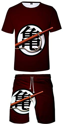 Silver Basic Dragon Ball Z Camiseta y Pantalones Chándal para Hombre y Niño Goku Top Chándal de Ropa Deportiva Dragon Ball Pijamas S,Goku Rojo-6