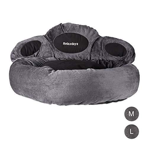 Relaxdays Hundebett XL, rundes Tierbett für große Hunde, Pfote, waschbar, flauschiges Hundenest, Ø 85 cm, grau-schwarz