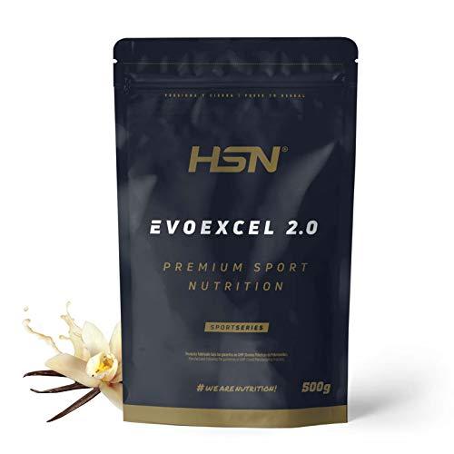 Whey Protein Isolate + Concentrate de HSN Evoexcel 2.0 | Batido de Proteínas con Enzimas Digestivas + Probióticos + Calostro | Vegetariano, Sabor Vainilla, 500g