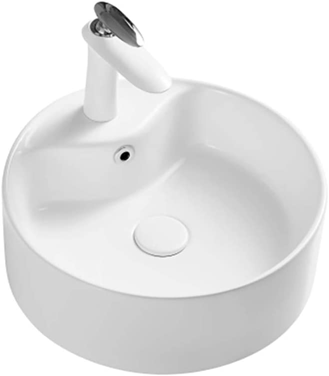 Buy Cabilock Round Bathroom Vessel Sink Above Counter Porcelain Ceramic Bathroom Vanity Sink Faucet Hole Countertop Sink Basin White Overseas Direct Shipment Online In Indonesia B0917cq3fn