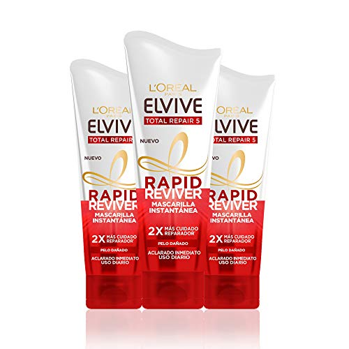 L'Oréal Paris Elvive Total Repair 5 Rapid Reviver, Mascarilla Instantánea Reparadora para Pelo Dañado - Pack de 3 x 180 ml