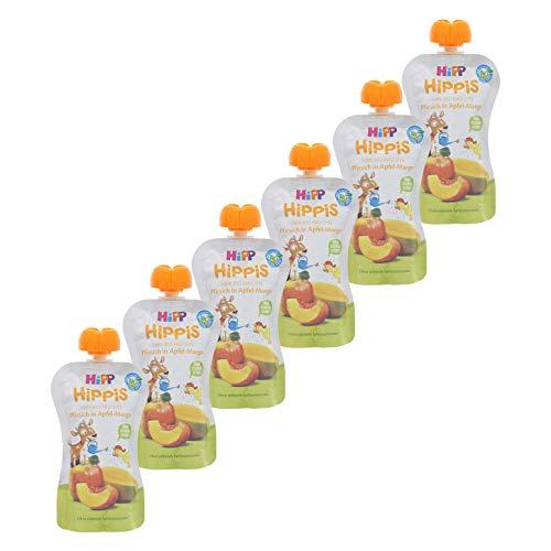 HiPP HiPPiS Quetschbeutel, Pfirsich in Apfel-Mango, 100% Bio-Früchte ohne Zuckerzusatz, 6 x 100 g Beutel