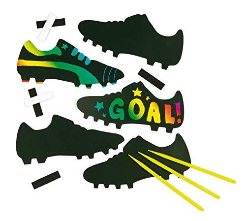 Baker Ross krasafbeelding-magneten - voetbalschoenen - scratch art met regenboogkleuren voor kinderen om te knutselen (10 stuks)