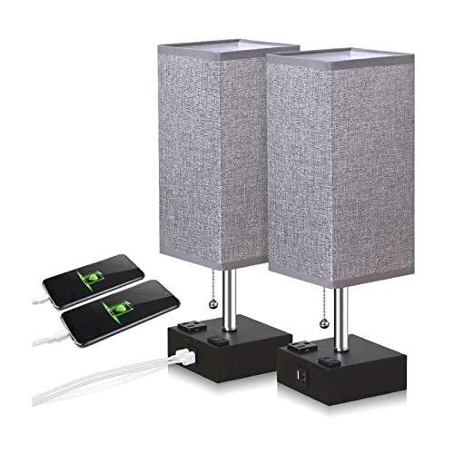 Lámpara de mesita de noche con 2 puertos de carga USB Luz de lectura de escritorio moderna con tela gris Pantalla de tela y cadena de tirantes Dormitorios para discapacitados Lámparas de escritorio pa