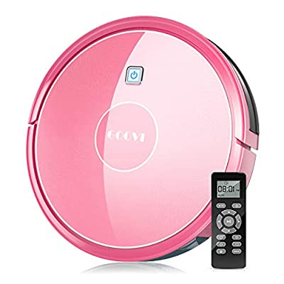 Robot Vacuum, GOOVI by ONSON 1600Pa Robotic Vacuum Cleaner (Slim), Strong Suction&Multiple Clean Modes, Self-Charging Vacuum for Pet Hair, Hard Floor, Carpets - Pink