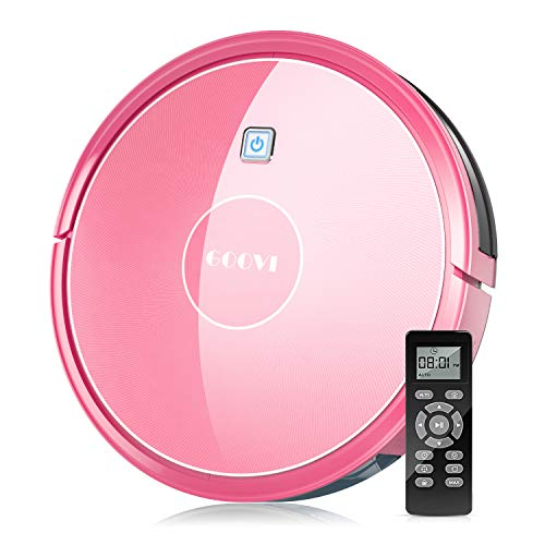 Robot Vacuum, GOOVI by ONSON 1600Pa Robotic Vacuum Cleaner (Slim), Strong Suction&Multiple Clean Modes, Self-Charging Vacuum for Pet Hair, Hard Floor, Carpets - Pink Dining Features Kitchen Robotic Vacuums