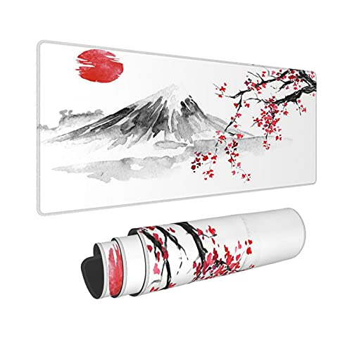 Cherry Blossom Sakura Gaming Mouse Pad 31.5×11.8inch with Stitched Edges Extended Waterproof Desk Pads Non-Slip Rubber Base Large Keyboard Mat Computer Gaming Mousepad for Work/Office/Home (Eight)