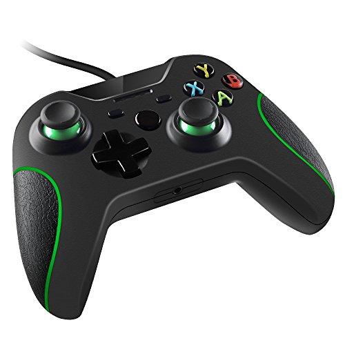 Preisvergleich Produktbild Maliralt Xbox One-Controller mit Kabel XF012 Dual Vibration Wired Game-Controller mit kompatibler Xbox One Win10 One X-Konsolenfunktion (von Drittanbietern hergestellt) - Schwarz