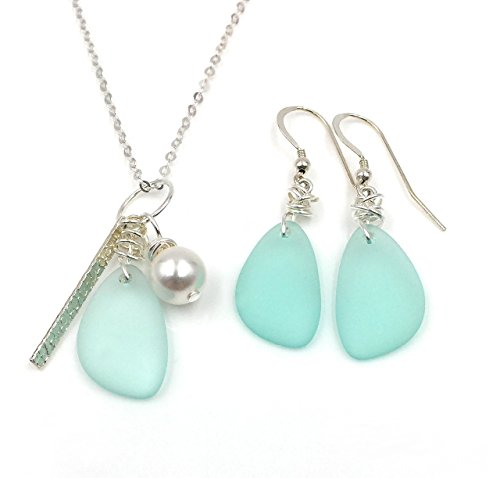 Gorgeous Set, Sea Foam Green Sea Glass Earrings on Sterling Silver Hooks with Sea Glass, Swarovski Pearl, Silver Bar Charm Necklace on Sterling Silver Chain, by Aimee Tresor Jewelry