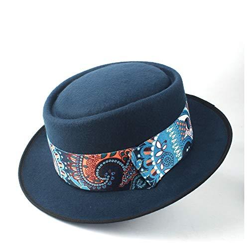 XYAL-Hats Xingyue Aile Top Hoeden & Cowboy-mutsen, mannen vrouwen Porkpie, Blue Ribbon Dad Wol Fedora-hoed pet, Porkpie kerk Fascinator Hoed dans-Party-hoed