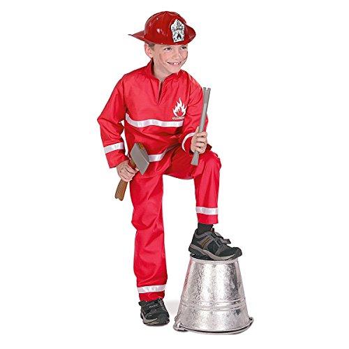 Fries 2127 Feuerwehrmann rot, 2-tlg. Kinder Kostüm Fasching Karneval Verkleiden: Größe: 098