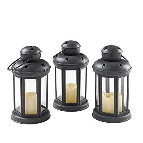 SODIAL Set of 3 with Flickering Flameless LED Candle Lanterns -Battery Operated - Hanging Lantern for Outdoor and Indoor