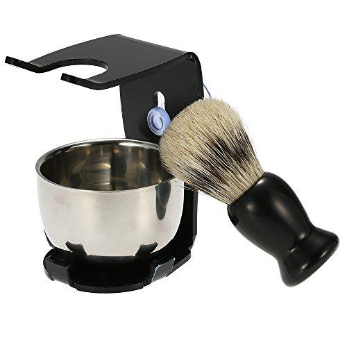 TOOGOO 3 en 1 Ensemble de Rasoir pour les Hommes Support de Rasage pour les Cheveux Support de Rasoir Outils de Nettoyage Du Visage des Hommes Brosse de Nettoyage de Bol de Savon