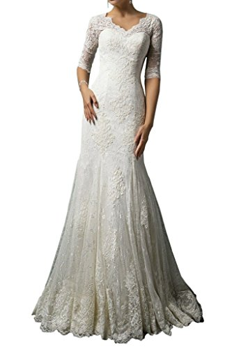 MILANO BRIDE Modest Wedding Dress for Bride Lace 1/2 Sleeves V-Neck Sheath-2-Pure White (Apparel)