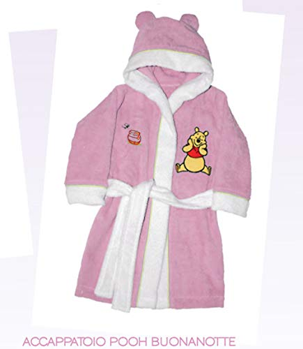 Disney Caleffi Peignoir à capuche Winnie Love Rose 12 mois Éponge de coton 100 %