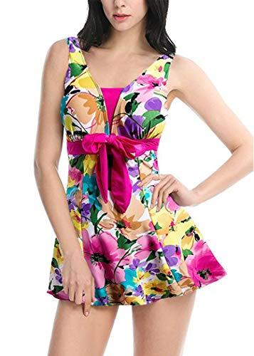 AOQUSSQOA Damen Einteiliger Badeanzug Figurformender Bademode Push up Bauchweg Badeanzüge für Frauen Sexy Hohe Taille Tankini Set mit Röckchen (EU 38-40 (L), Blume)