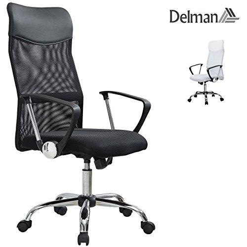 Delman Drehstuhl Bürostuhl ergonomische Chefsessel mit Netzrücken Wippfunktion Feste Armlehne Höhenverstellbar 02-1003 (Schwarz)