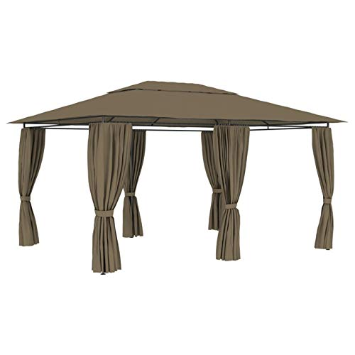 Kshzmoto Pabellón al Aire Libre con Estructura de Acero, Material de Fibra de poliéster, pabellón para Fiestas, pabellón de jardín, 4 x 3 x 2,7 m, Color Topo con Cortinas