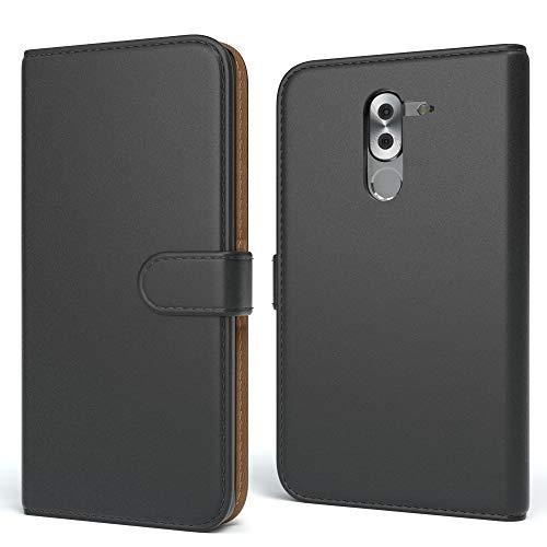 EAZY CASE Tasche kompatibel mit Huawei GR5 (2017), Honor 6X, Mate 9 Lite Schutzhülle mit Standfunktion Klapphülle Bookstyle, Handyhülle Flip Cover mit Magnetverschluss Kartenfach, Kunstleder, Schwarz