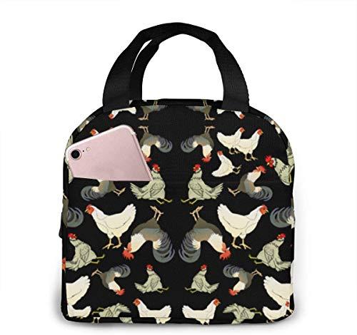 Bolsa de almuerzo de tela de pollos y gallos (3581) para mujeres, niñas, niños, bolsa de picnic aislada, bolsa térmica, Bento, grande, preparación de comidas, linda bolsa, grandes bolsas sua