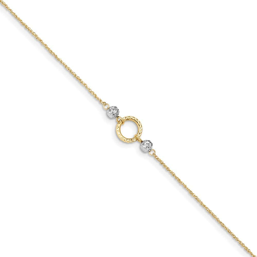14k Two-tone Circle & Bead 9in Plus 1in ext. Anklet 10in style ANK228-10
