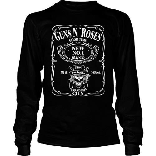 Guns N' Roses T Shirt, Paradise City T Shirt - Long Sleeve Tees (S, Black)