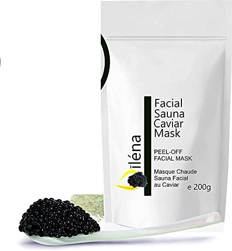 Masque Peel-Off Masque d'Alginate gelifiant en poudre 200 g professionnel et à la maison Masque Visage extracteur points noirs (Masque chaud au Caviar Sauna Facial)