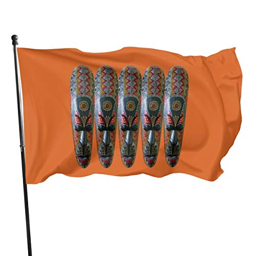 Generic Brands bandera bandera de la máscara tribal africana pintada a mano, 3 x 5 pies