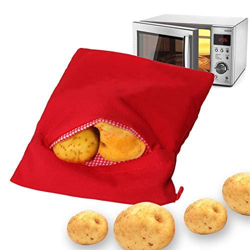 Patate Microonde Patate Pouch, Microonde Patate Bag, Sacco cuoci patate per microonde, Microonde Patata Fornello Borsa, Patate perfette Solo in 4 minuti - (Rosso)