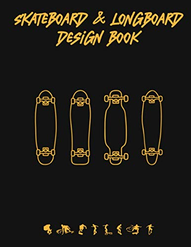 Skateboard & Longboard Design Book: Coloring book for all ages, design and sketch the board of your dreams, minimal design