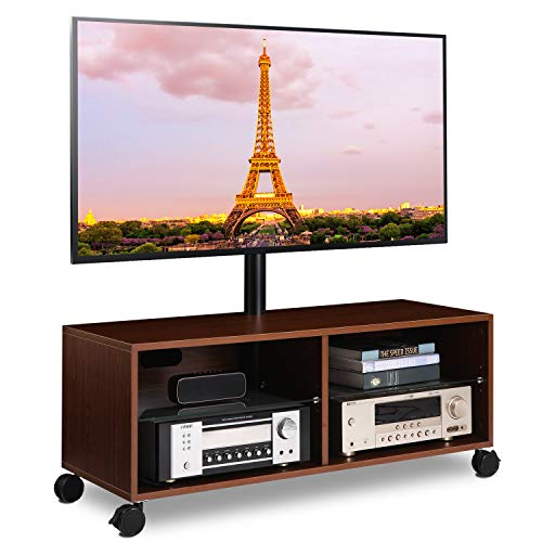 5Rcom Rolling Wood Entertainment Center TV Stand Cabinet with Swivel Mount and Wheels for Most 32 to 65 Flat Panel Curved Screen TVs Media Center Storage Shelf for Gaming Console, Media,Walnut