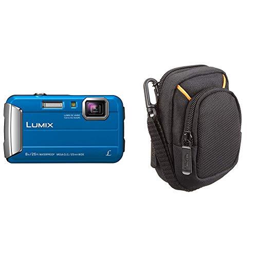 Panasonic Lumix DMC-FT30EG-A Fotocamera, 16MP, Waterproof, Optical Zoom 4x, Stabilizzatore MEGA O.I.S, Creative Filters, Azzurro & Amazon Basics - Custodia per fotocamera compatta, misura media