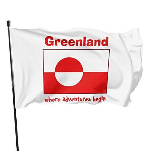 Generic Marken Grönland-Flagge + Karte + Text-Flagge, 91 x 152 cm