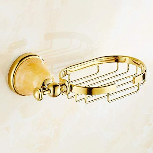 Europäische Goldene Jade Basis Duschseifenschale Gold Kupfer Seifenhalter Marmor Seife Regal Dusche Hohl Seifenkorb Hängen Seifenständer Mit Diamant Form Haken