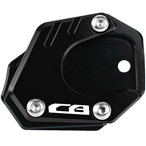 Motocicleta CNC Aluminio Costado Soporte Lateral Ampliar para Honda CB650R Neo Sports Cafe 2019 2020 CBR650R CB400X 2019 2020 CB500F CB500X CBR500R 2013-2020 CB125R CB300R 2018-2020-Negro+Negro