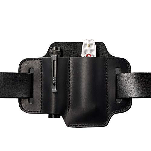 EDC Leather Knife Belt Sheath Tool Pouch, Small Tools Organizer, Fit Most 3.5' - 4' Victorinox Knives, Fit 0.6' Wide Flashlights, EDC Holster, EDC Gear Carrier, Premium Leather. Black.