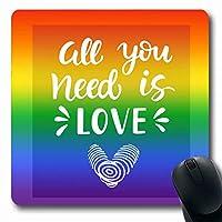 マウスパッドレタリングレズビアン必要なもの愛ゲイ平等プライド要約スペクトルバイセクシュアルブライトコミュニティ長方形形状滑り止めゲームマウスパッドラバー長方形マット 18x22cm