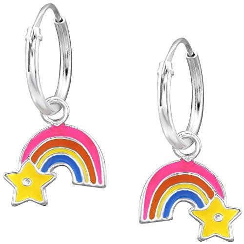 JAYARE Ohrringe Mädchen Regenbogen Sternschnuppe 925 Sterling Silber bunt Kinder Creolen