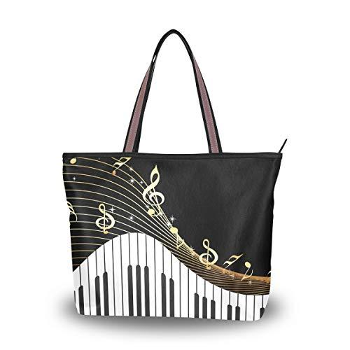 WowPrint - Borsa a tracolla con note musicali per pianoforte, da donna, grande capacità, per scuola, lavoro, viaggi, shopping, spiaggia