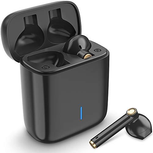 Luvfun Bluetooth Kopfhörer, Kabellos Kopfhörer TWS Bluetooth 5.0 Headset True Wireless Earbuds mit Mikrofon und Tragbare Ladehülle - Schwarz